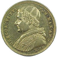 Профиль Григория XVI на монете