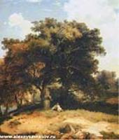 Пейзаж с дубами и пастушком. 1860