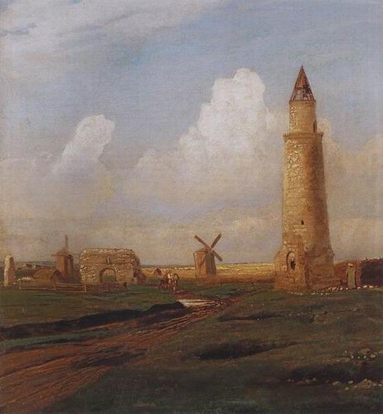Село Болгары. Малый минарет и развалины Белой палаты. 1872-1874