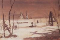 Сельское кладбище в лунную ночь.1887
