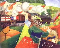 Санитарный поезд, мчащийся через город (Джино Северини, 1915 г.)