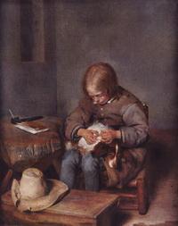 Мальчик с собакой (Г. Терборх, 17 в.)