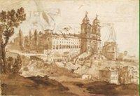 Вид церкви Тринита деи Монти в Риме