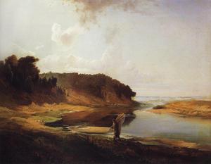 Пейзаж с рекой и рыбаком. 1859