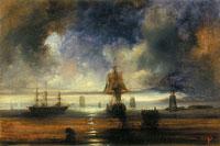 Морской вид с маяком и парусниками (Филипп Таннер)