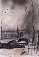 Грачи прилетели. Пейзаж с церковью. 1894