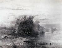 Деревья у реки. 1861
