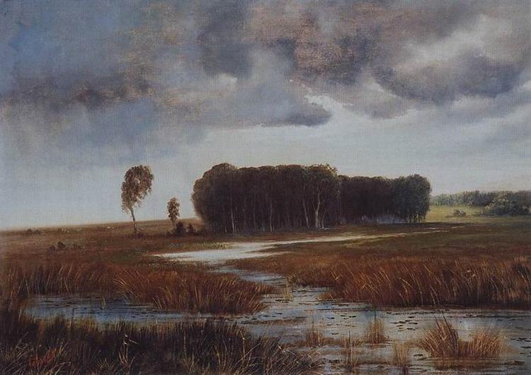 Пейзаж с болотом и лесистым островом. Конец 1860-х - начало 1870-х