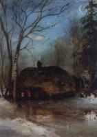 Весенний пейзаж с избой. 1890-е