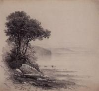 На берегу. Горное озеро. 1864