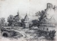 Пейзаж с церковью и руинами. 1861