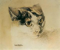 Реалистический рисунок кошки (Л. Вейн)