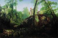 Камень в лесу у Разлива. Вид в имении И.Д.Лужина близ станции Влахернская. 1850