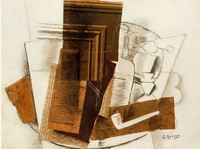 Бутылка, газета, трубка, стакан (П. Пикассо, коллаж)