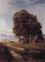 Пейзаж с хутором у озера.1880-1890-е