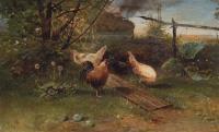 Летний день. Куры на задворках. 1874
