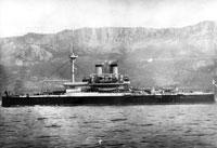 Броненосный корабль Чесма у крымского побережья в районе Ялты