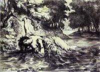 Смерть Офелии (Эжен Делакруа, литография)