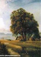 Пейзаж с хутором у озера. 1880-1890-е