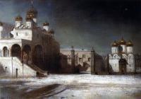 Соборная площадь в Московском Кремле ночью. 1878