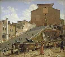 К.В.Экерсберг. Лестница церкви Марии Арачели. 1813-1816